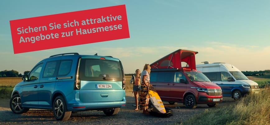 Volkswagen Camper Range mit Schrift Sichern Sie sich attraktive Angebote zur Hausmesse