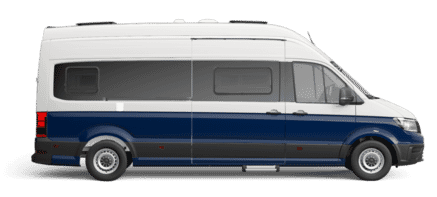 VW Grand California Lakierung Candy-Weiß/Deep Ocean Blue
