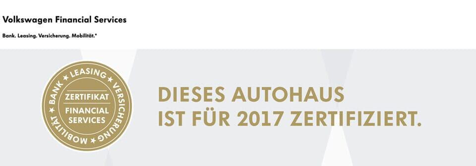 Dieses Autohaus ist für 2016 zertifiziert
