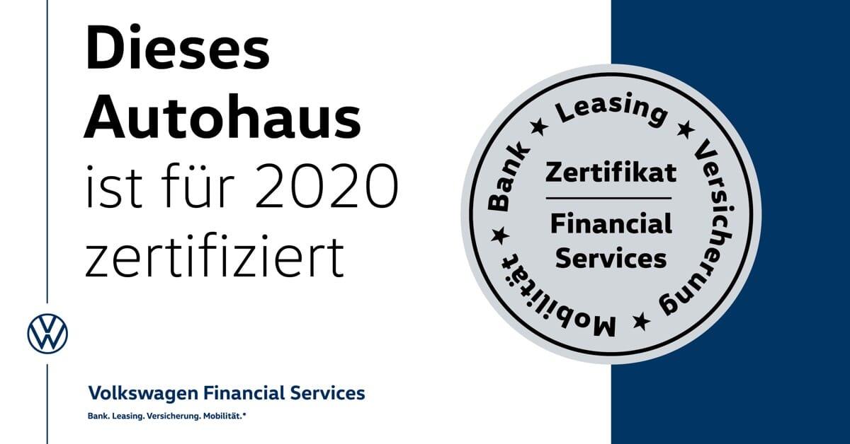 Dieses Autohaus wurde von Volkswagen Financial Services für das Jahr 2020 zertifiziert